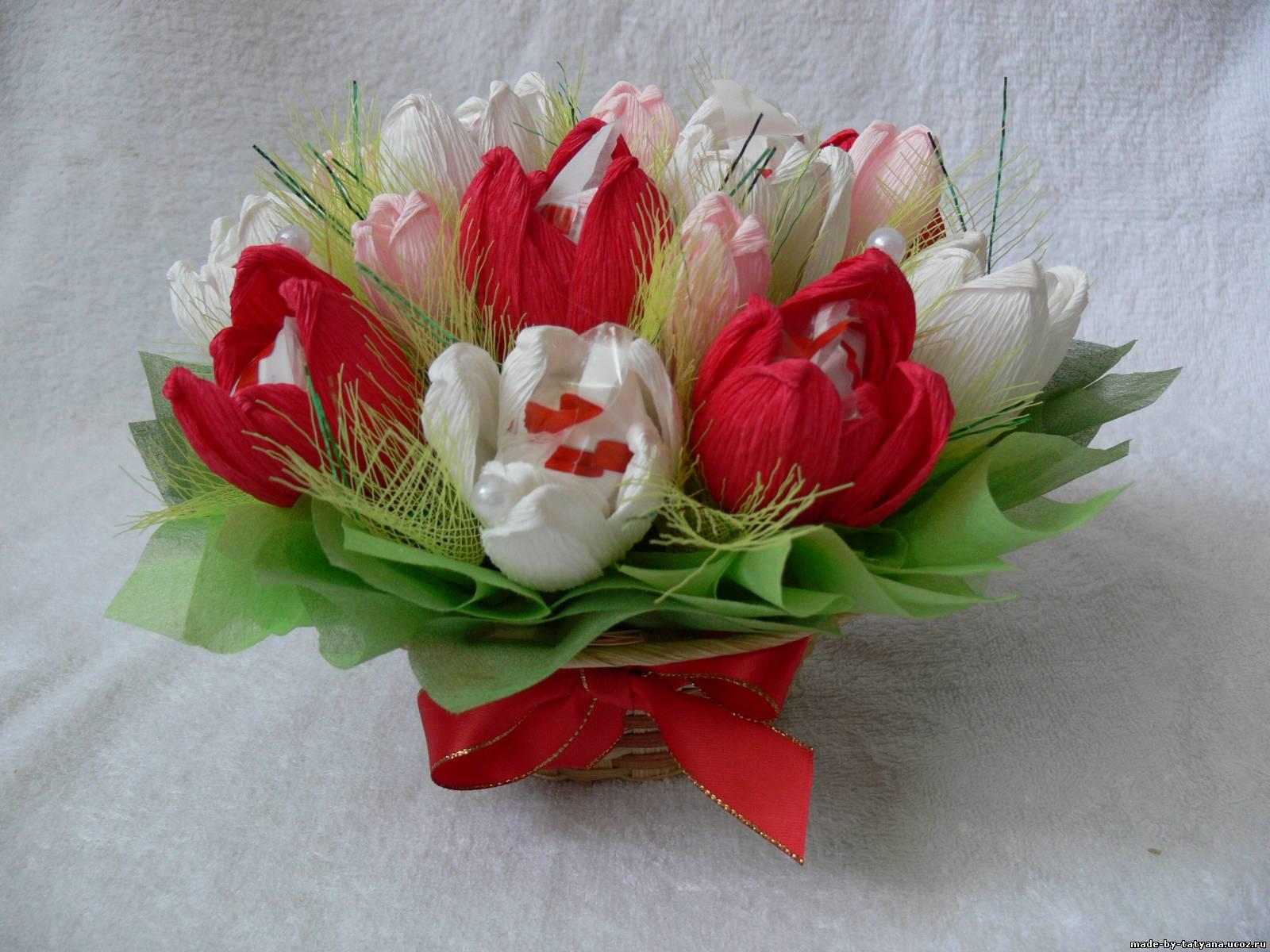 Букет из конфет тюльпаны своими руками фото
