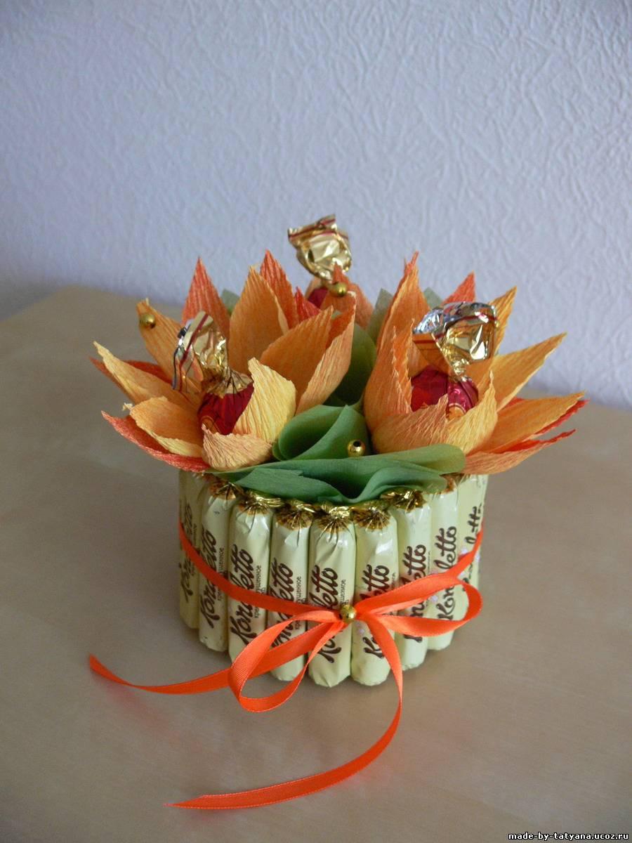 Букет из конфет в кружке Новогодняя композиция. Мастер 5